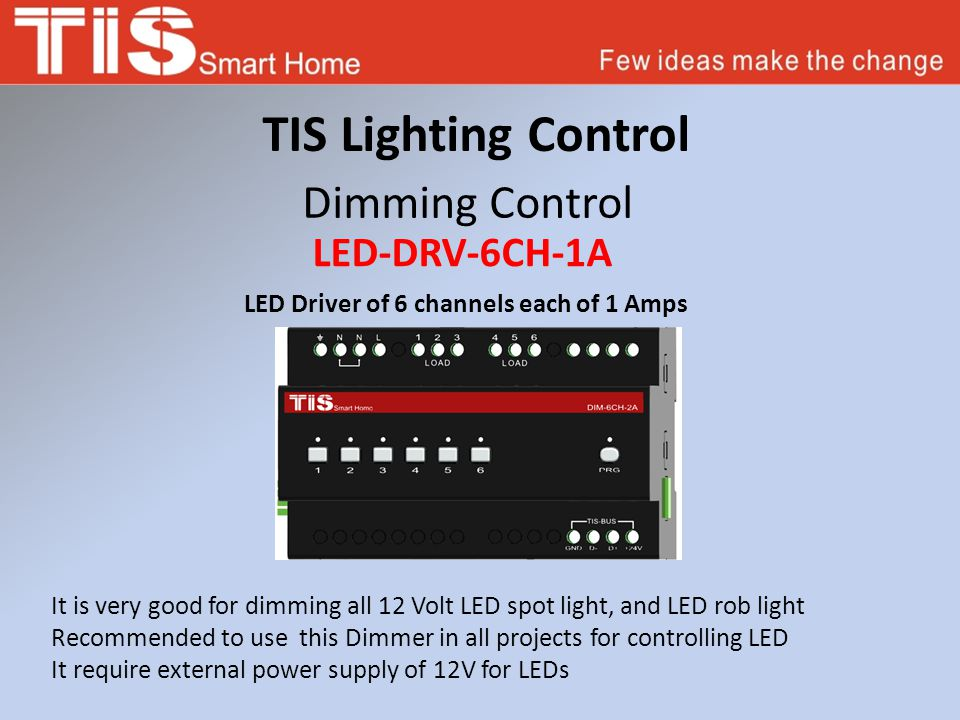 TIS Lighting Control Dimming Control LED-DRV-6CH-1A