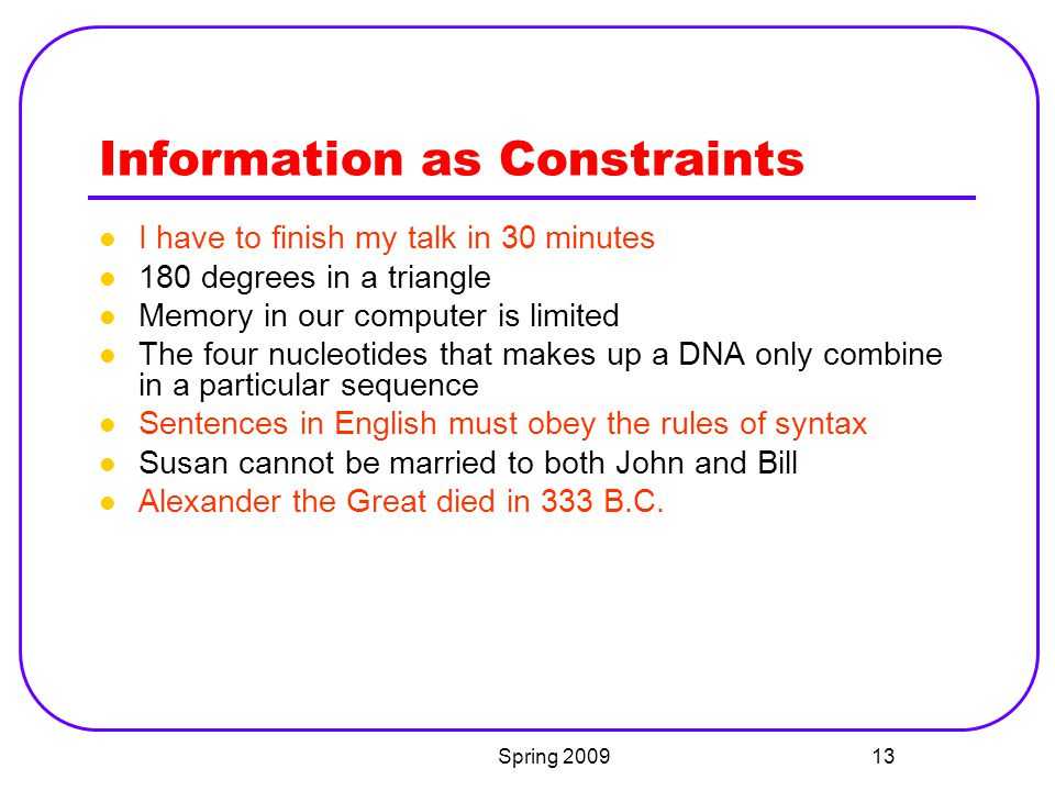Information as Constraints