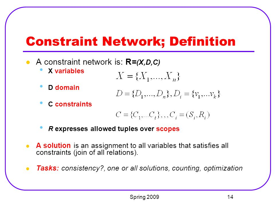 Constraint Network; Definition