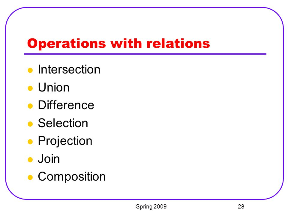 Operations with relations