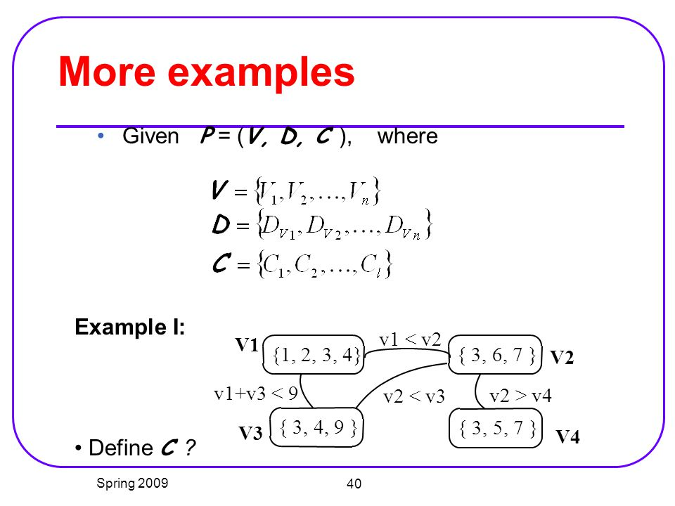 More examples Given P = (V, D, C ), where Example I: Define C