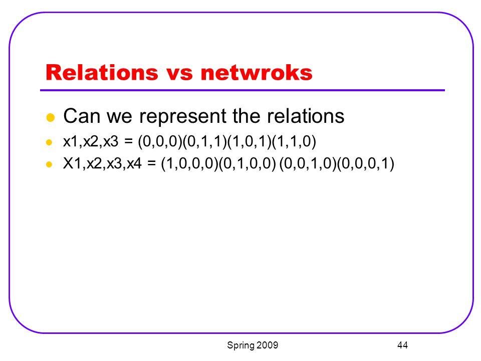 Relations vs netwroks Can we represent the relations