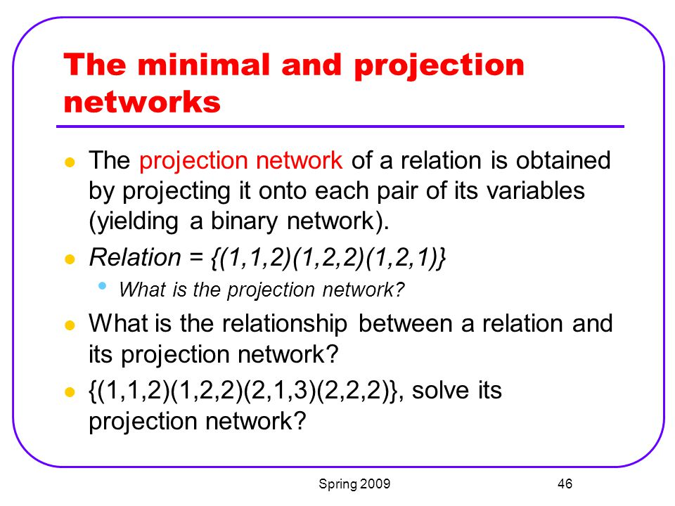 The minimal and projection networks