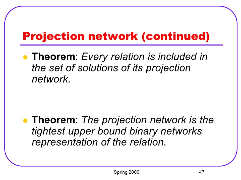 Projection network (continued)