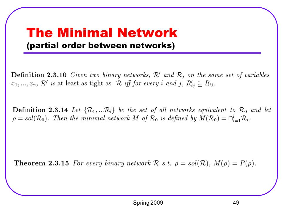 The Minimal Network (partial order between networks)