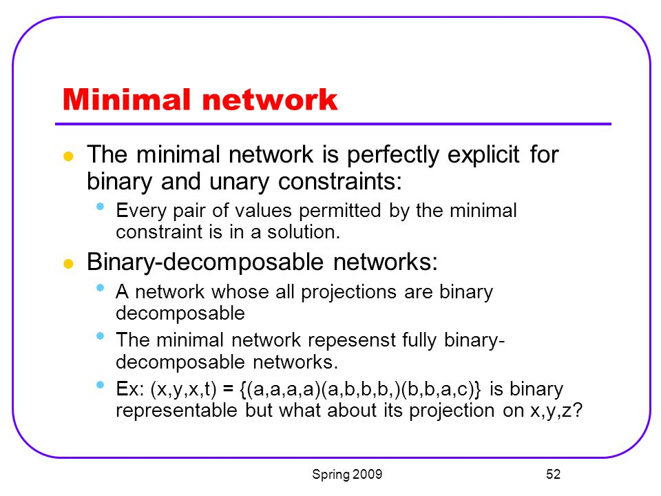 Minimal network The minimal network is perfectly explicit for binary and unary constraints: