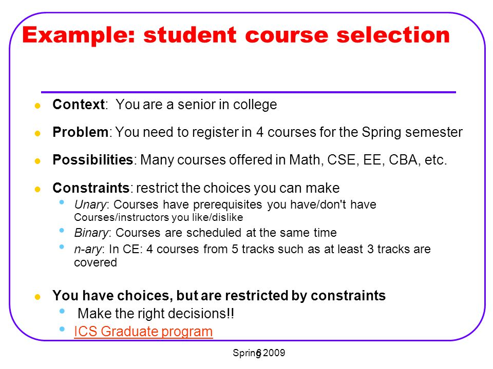 Example: student course selection