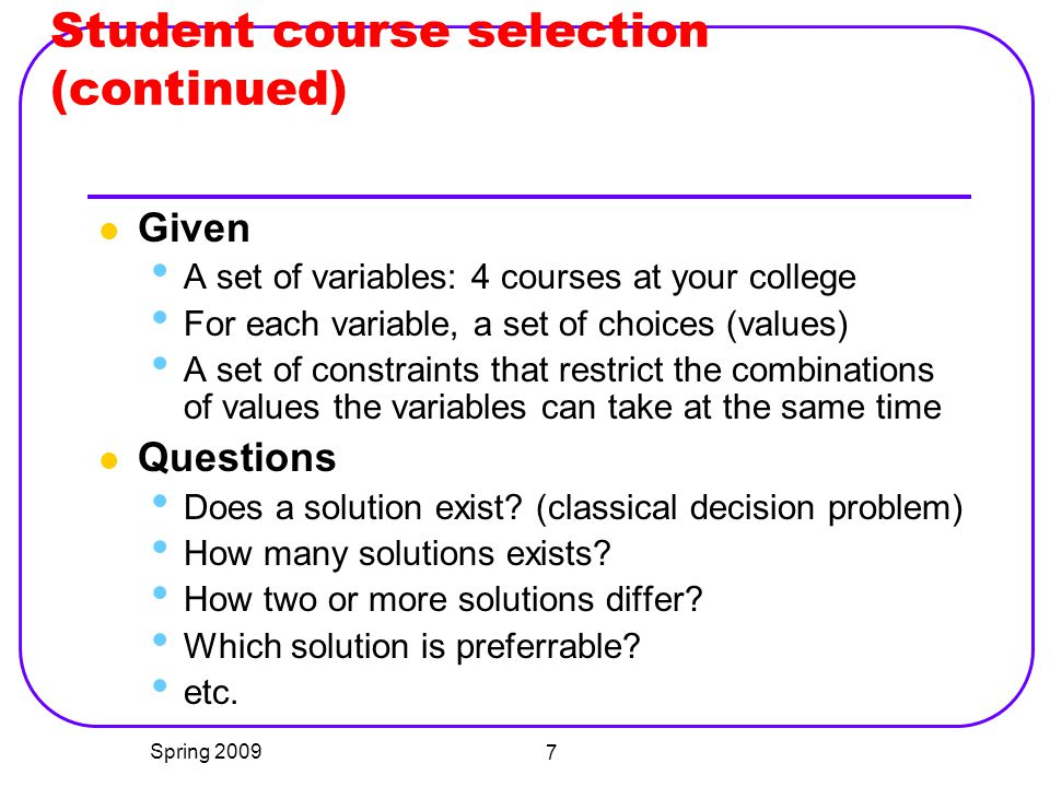Student course selection (continued)