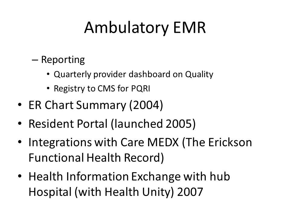 Ambulatory EMR ER Chart Summary (2004) Resident Portal (launched 2005)