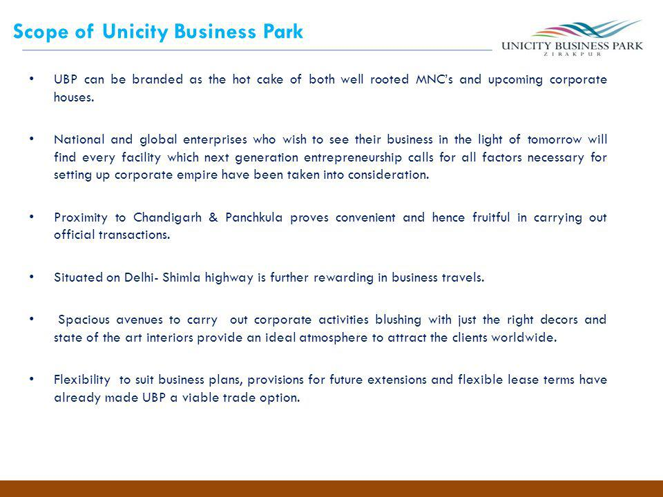 Scope of Unicity Business Park