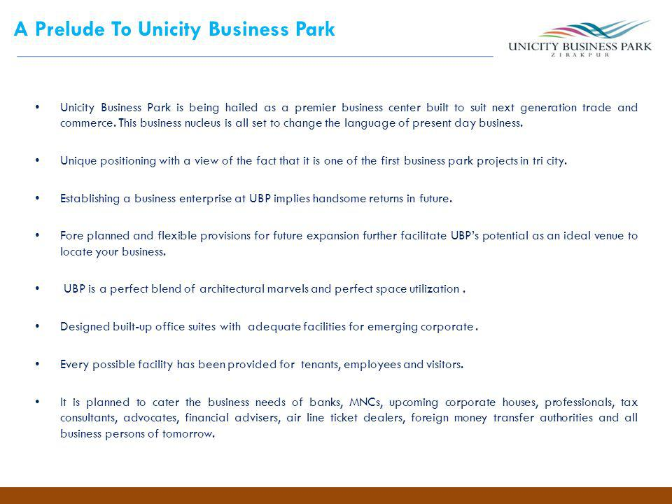 A Prelude To Unicity Business Park