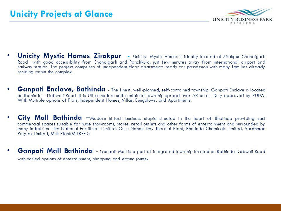 Unicity Projects at Glance