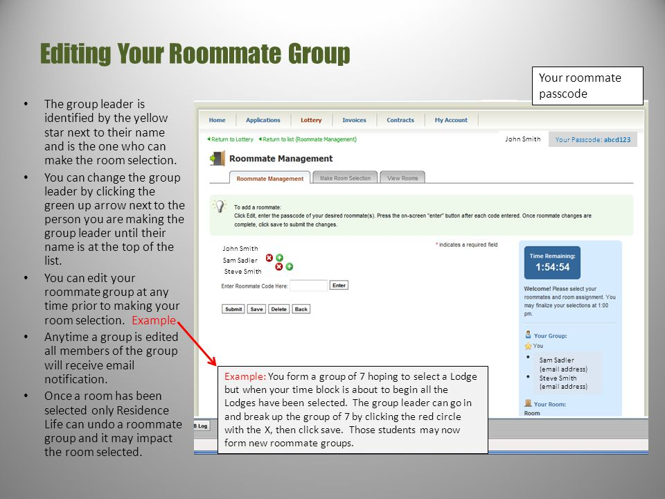 Editing Your Roommate Group