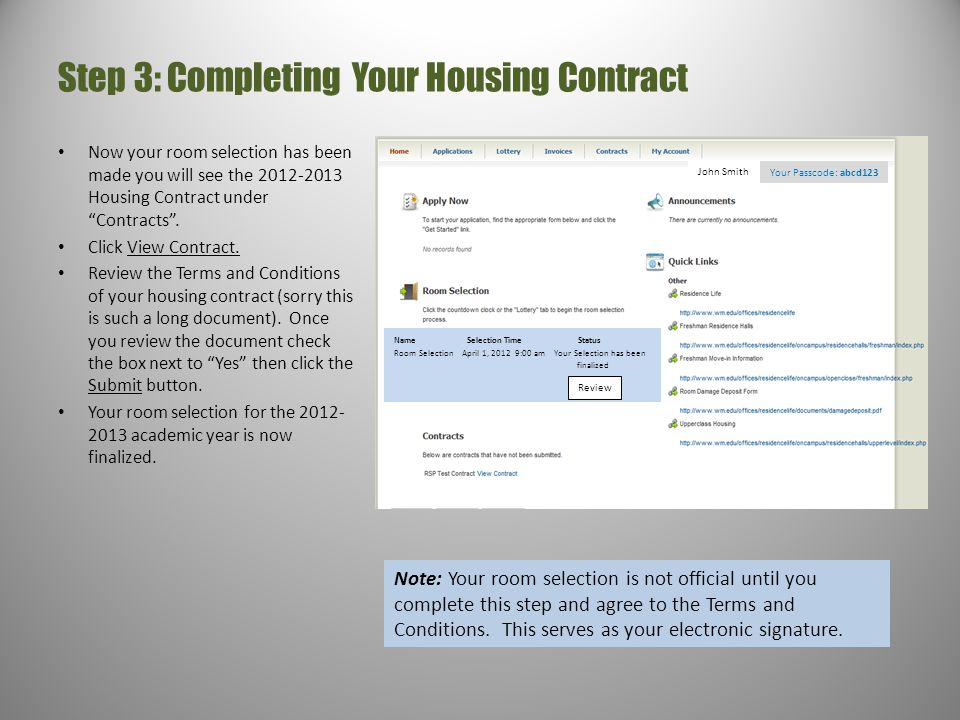 Step 3: Completing Your Housing Contract