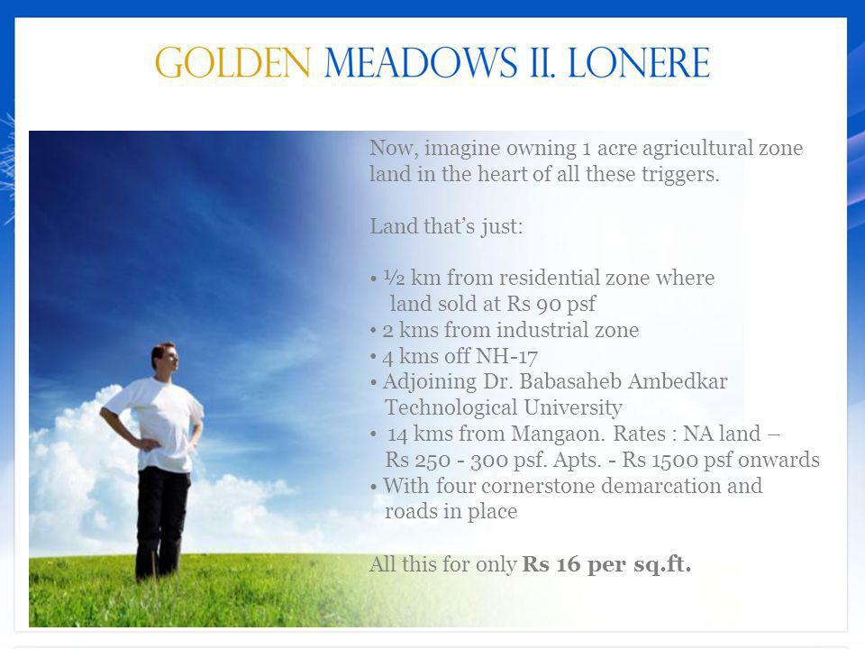 Now, imagine owning 1 acre agricultural zone land in the heart of all these triggers. Land that's just: