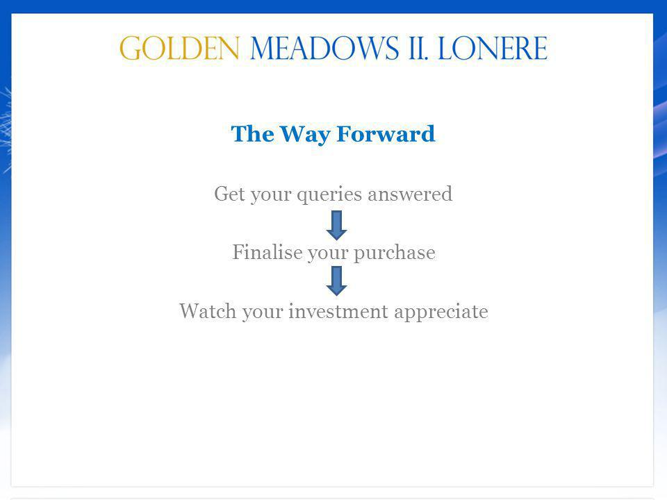 The Way Forward Get your queries answered Finalise your purchase