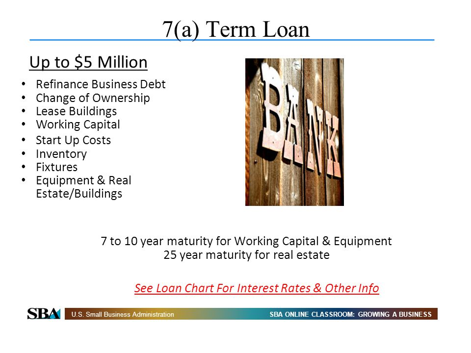 7(a) Term Loan See loan comparison chart Up to $5 Million