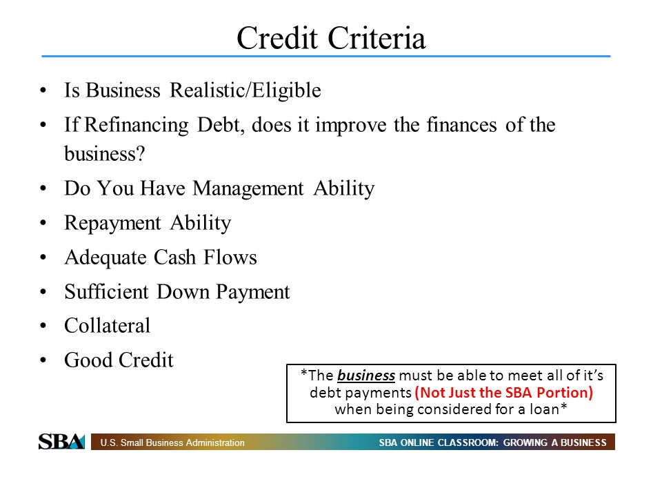 Credit Criteria Is Business Realistic/Eligible