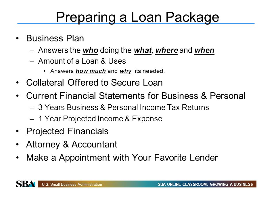 Preparing a Loan Package
