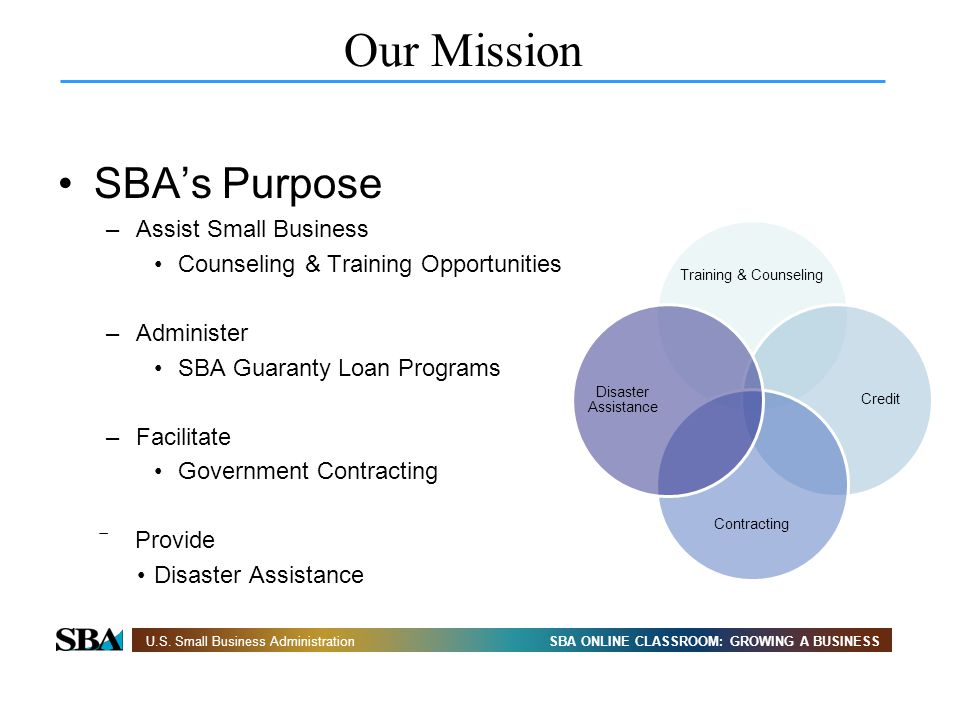 Our Mission SBA's Purpose Assist Small Business
