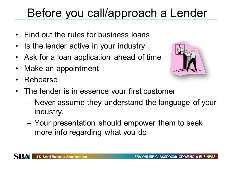 Before you call/approach a Lender