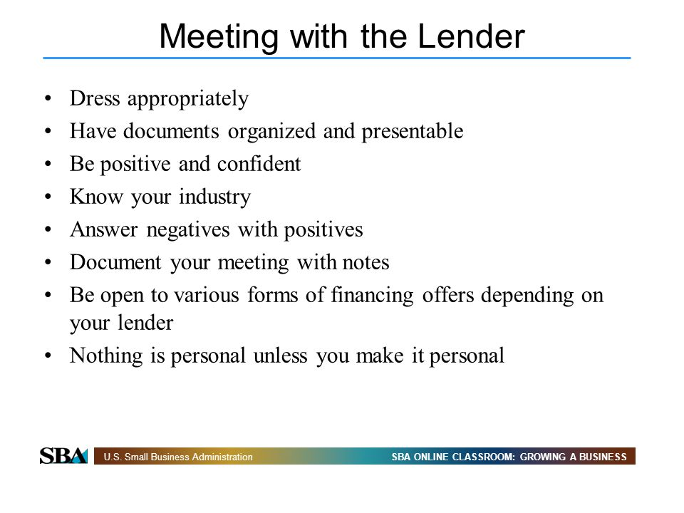 Meeting with the Lender