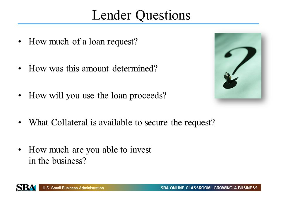 Lender Questions How much of a loan request