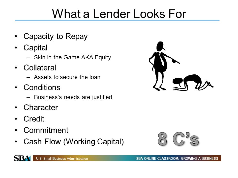 8 C's What a Lender Looks For Capacity to Repay Capital Collateral