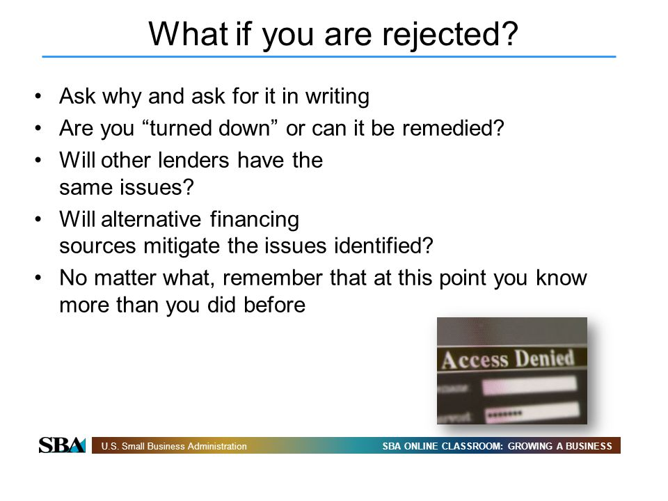 What if you are rejected