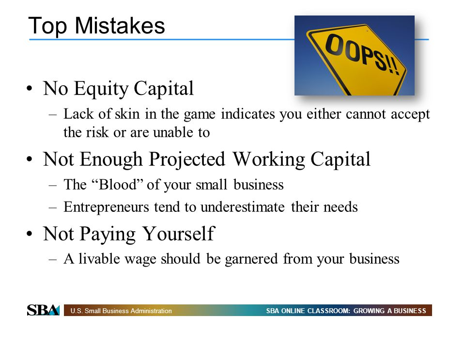 Top Mistakes No Equity Capital Not Enough Projected Working Capital