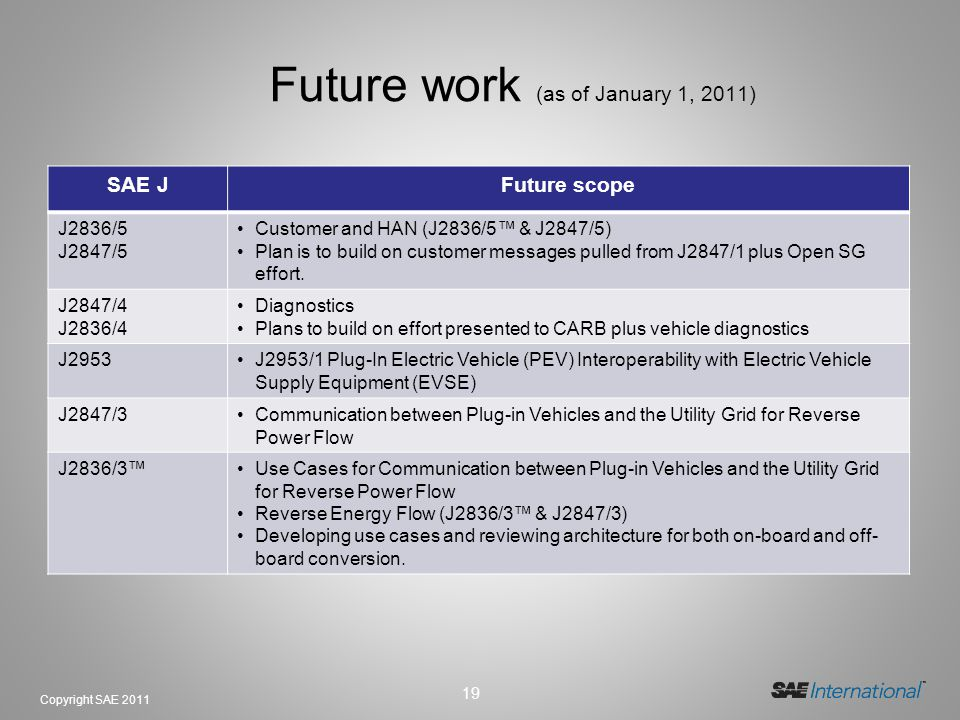 Future work (as of January 1, 2011)