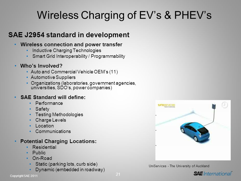 Wireless Charging of EV's & PHEV's