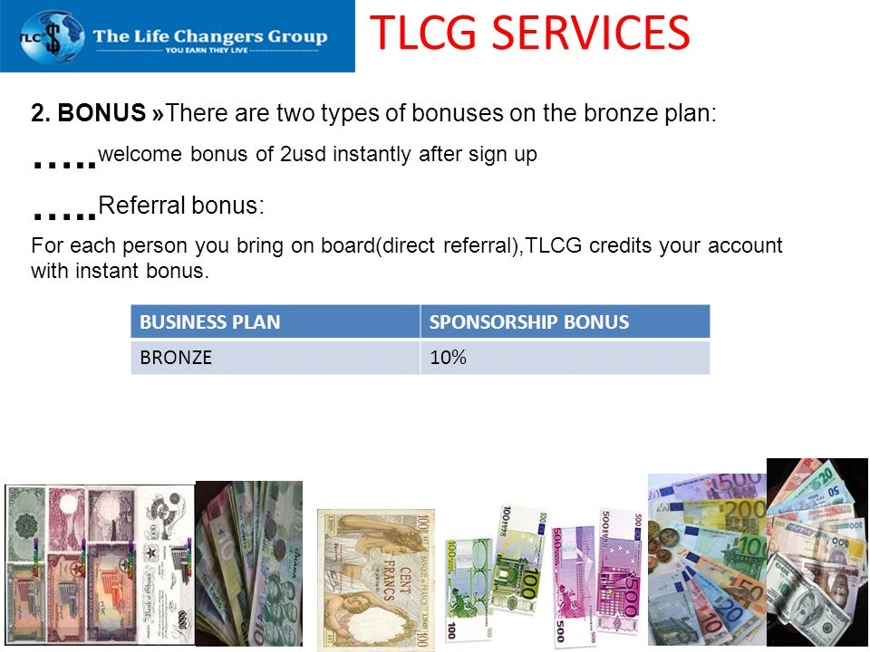 TLCG SERVICES …..welcome bonus of 2usd instantly after sign up