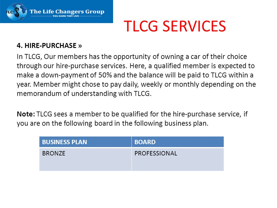 TLCG SERVICES 4. HIRE-PURCHASE »