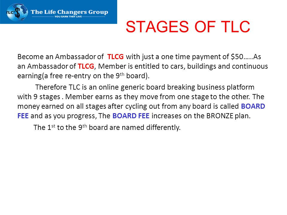 STAGES OF TLC