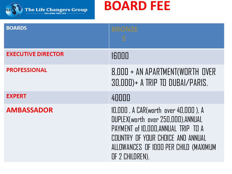 BOARD FEE BOARDS. BRONZE. $ EXECUTIVE DIRECTOR. 16000. PROFESSIONAL. 8,000 + AN APARTMENT(WORTH OVER 30,000)+ A TRIP TO DUBAI/PARIS.