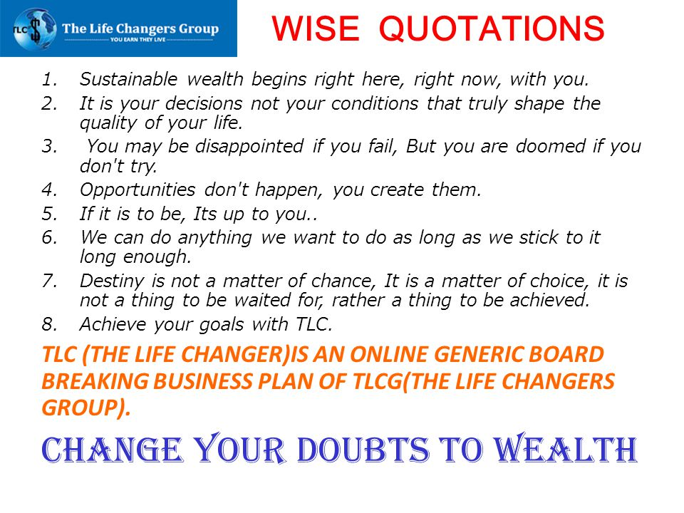 Change your DOUBTS to WEALTH