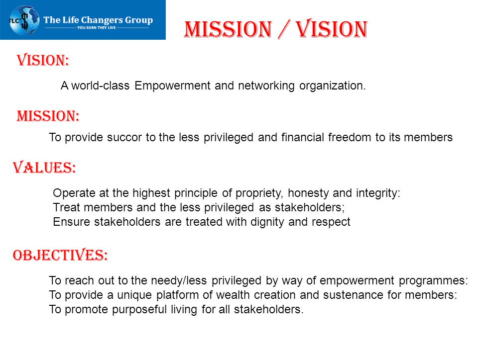 MISSION / VISION VISION: MISSION: VALUES: OBJECTIVES: