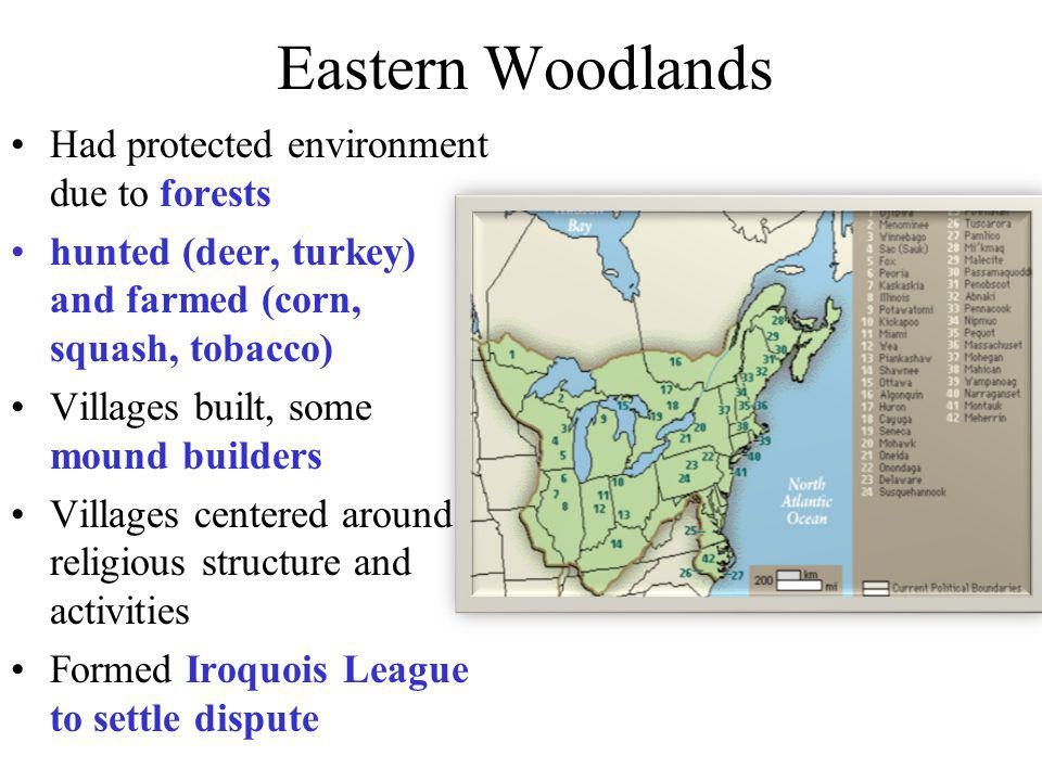 Eastern Woodlands Had protected environment due to forests