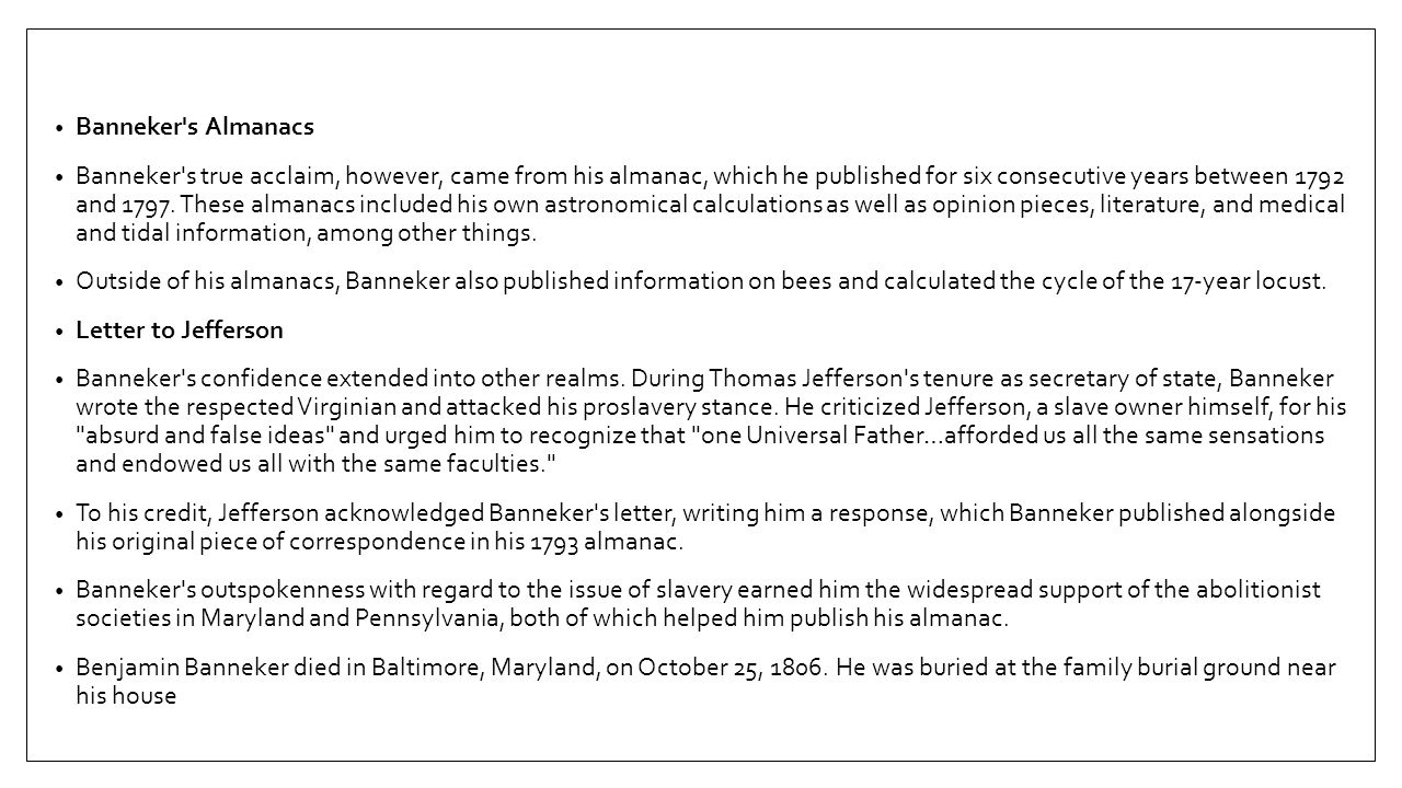 Banneker s Almanacs
