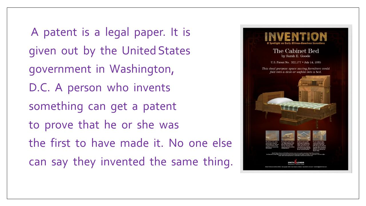 A patent is a legal paper