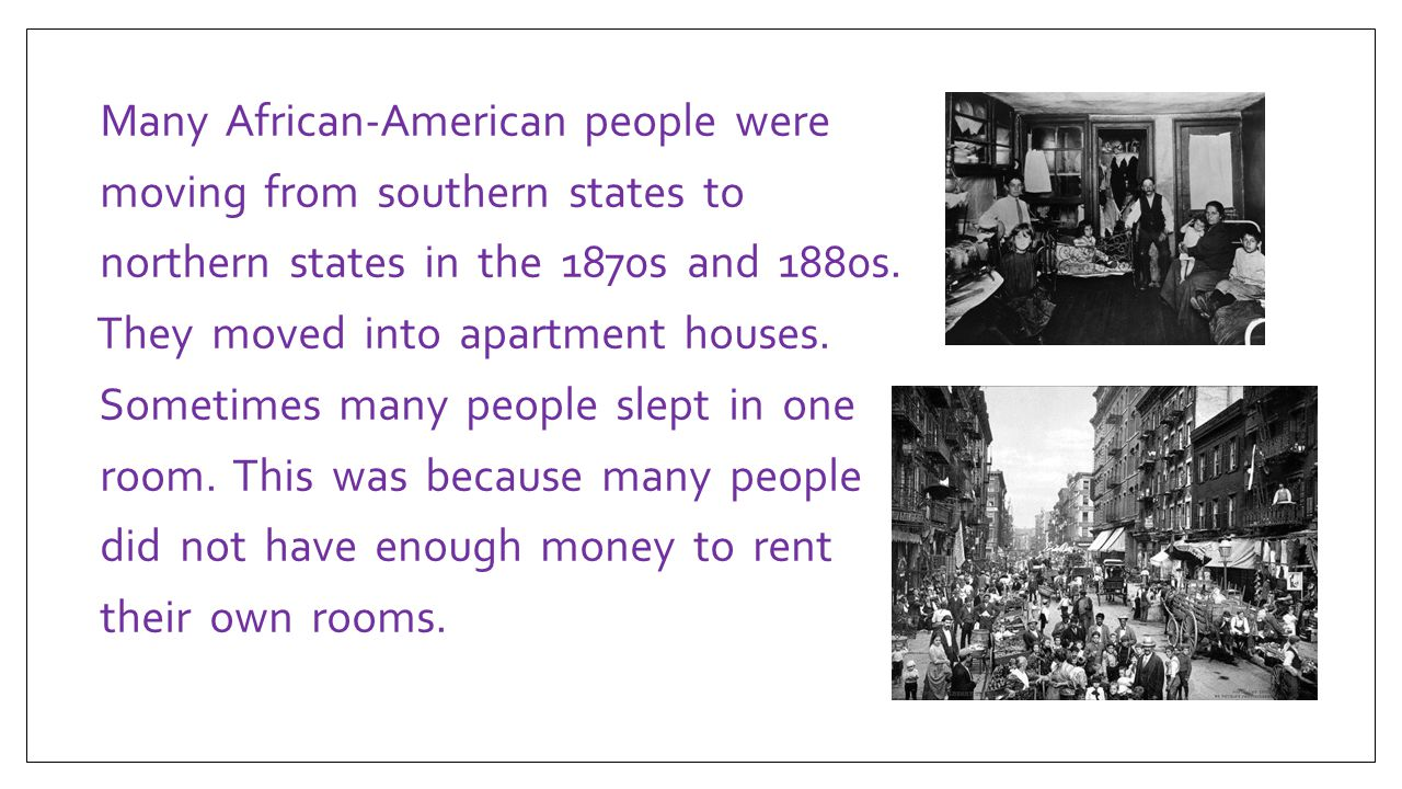 Many African-American people were moving from southern states to northern states in the 1870s and 1880s.