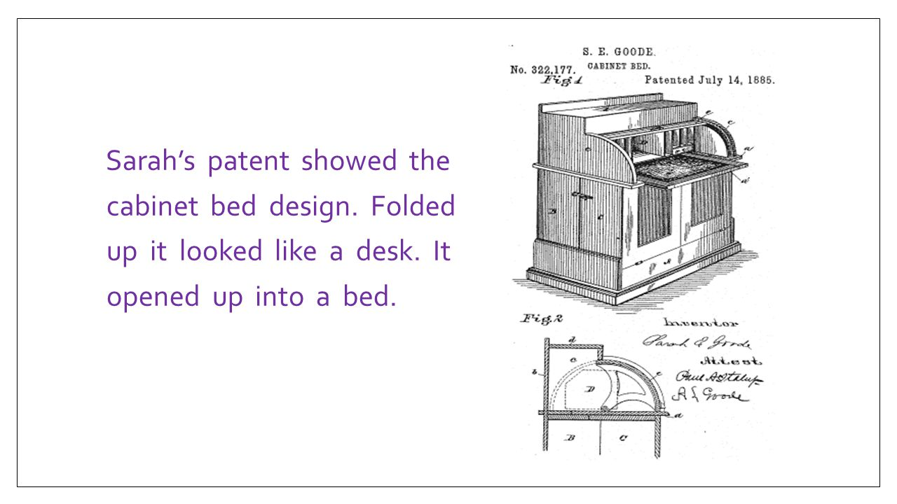 Sarah's patent showed the cabinet bed design