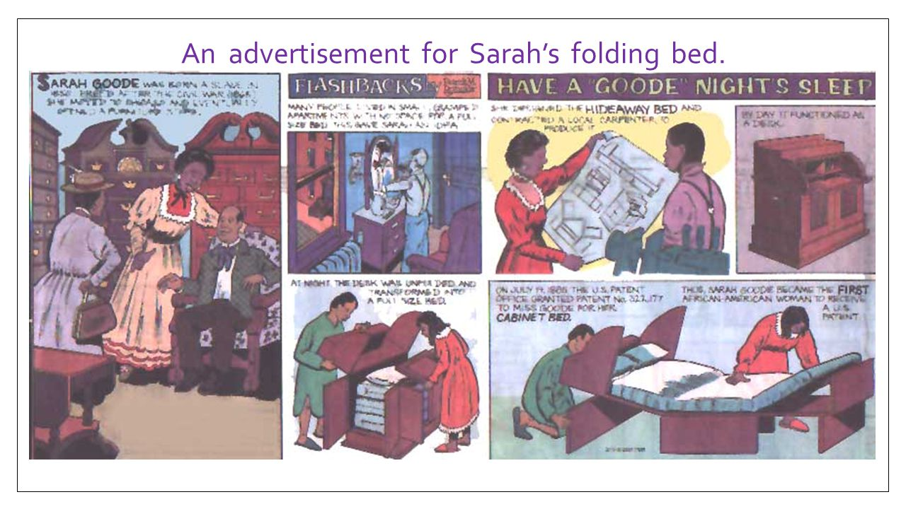 An advertisement for Sarah's folding bed.