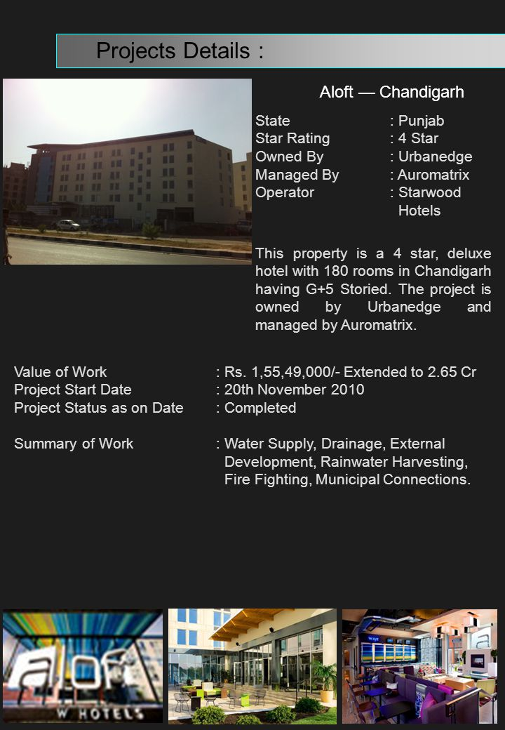 Projects Details : Aloft — Chandigarh State : Punjab
