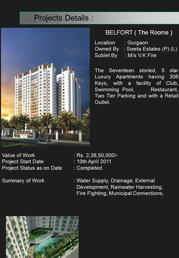 Projects Details : BELFORT ( The Rooms ) Location : Gurgaon