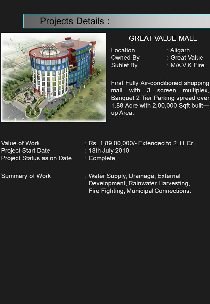 Projects Details : GREAT VALUE MALL Location : Aligarh
