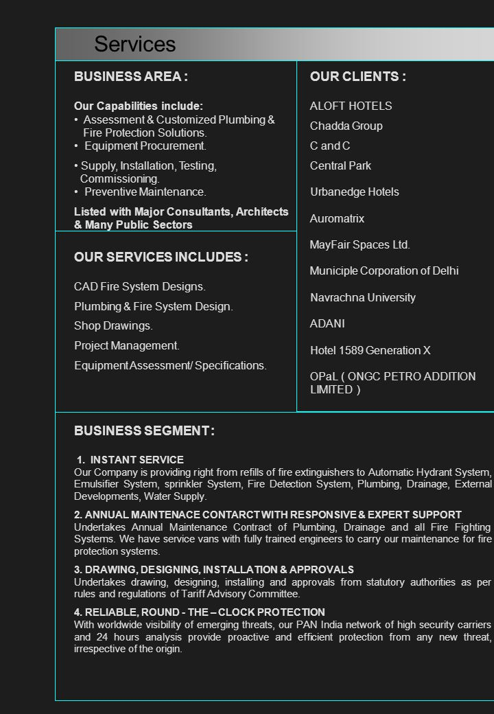 Services BUSINESS AREA : OUR CLIENTS : OUR SERVICES INCLUDES :