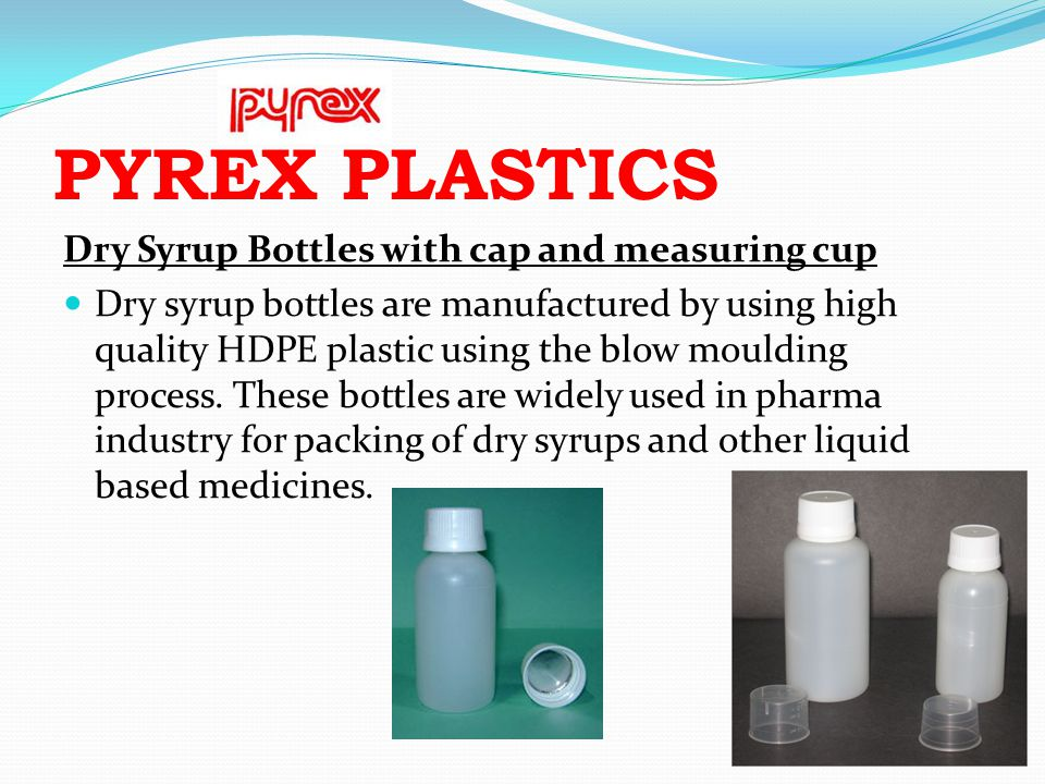 PYREX PLASTICS Dry Syrup Bottles with cap and measuring cup