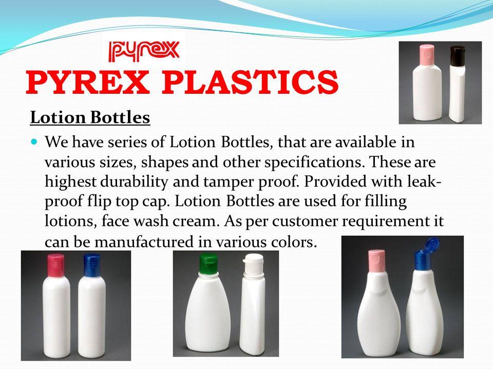 PYREX PLASTICS Lotion Bottles